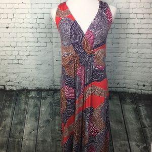 Boden Dot Print Maxi Dress Pink Purple Red Size 14